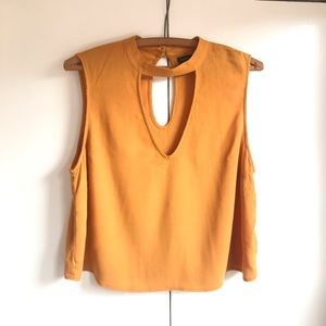 Kendall and Kylie Mustard Crop Top with Keyhole